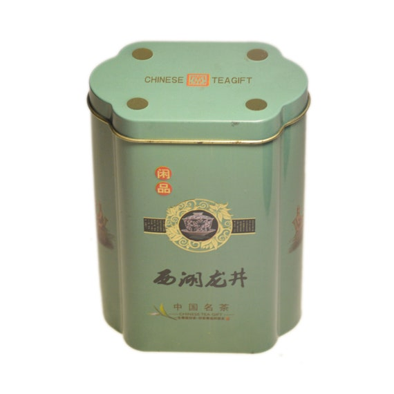 1960-s Vintage thé Tin soviétique chinois cadeau Metal Case vert souvenirs Home rangement décoratif publicitaire bidon cuisine rangement épices