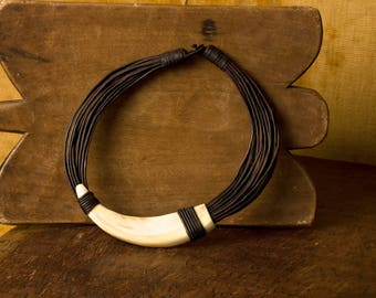 African Warthog Fang Necklace