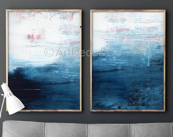 Abstract Painting Set 2 Extra LARGE Prints Minimalist Indigo Denim Fine Art Giclee Original Wall Art Navy Blue Indigo Seascape Scandinavian