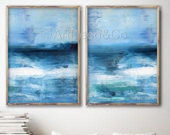 Indigo Acrylic Abstract Painting, Set of 2 Prints, Giclee of Original Wall Art, Dark Blue Seascape, Navy Blue Reproduction Art