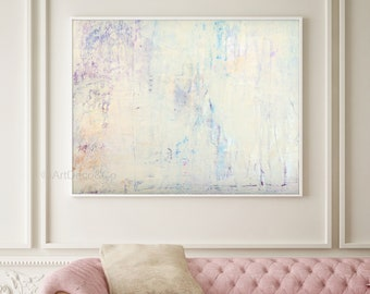 Extra Large Print Giclee of Original Wall Art, Acrylic Abstract Painting, Pink Blue White, Minimalist Landscape Reproduction Art, Pastel Art