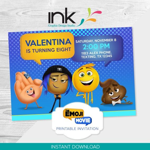 Emoji Movie Birthday Invitation 5x7 525x4