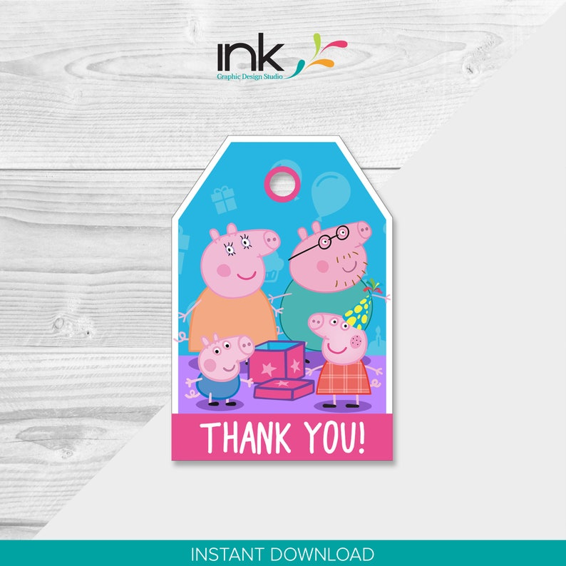 77468c70dd3 Peppa Pig Thank You Tags Instant Download Printable