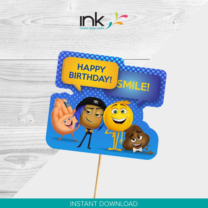 Emoji Movie Cake Topper Paper Centerpiece Instant Download