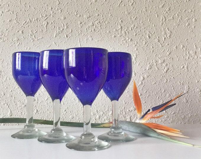 vintage handmade cobalt wine glasses