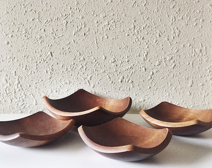 vintage teak square bowl set