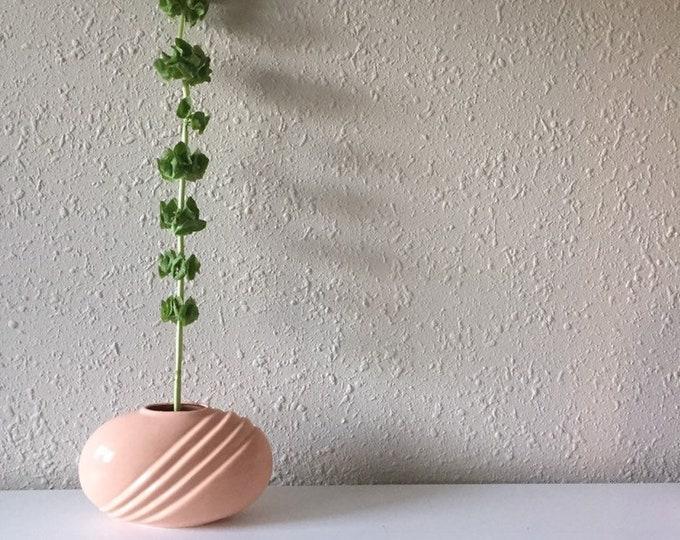 vintage peach oval porcelain vase