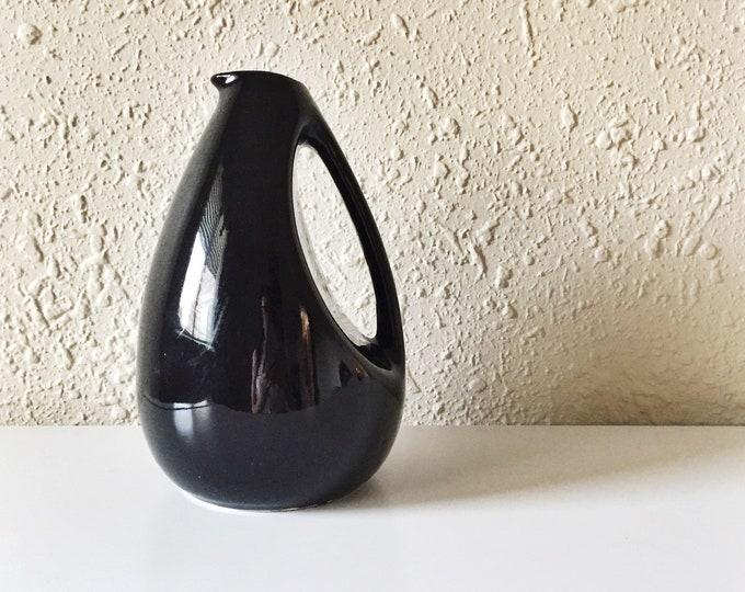 vintage glossy black sculptural carafe