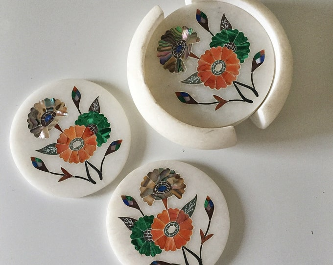 vintage marble coasters with stone inlay