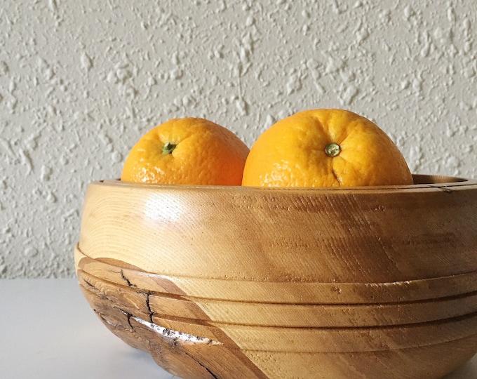vintage live edge wooden fruit bowl