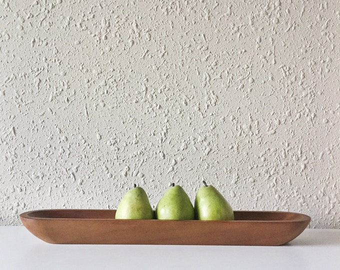 vintage oblong minimal teak wood fruit bowl