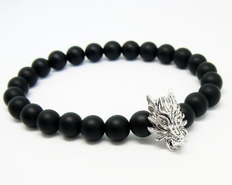 Wolf bracelet for man gift for him Black bracelet Wolf's bracelet Black onyx men's bracelet wolf head stretch bracelet for boyfriend gift