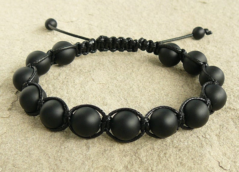Shamballa bracelet black onyx shamballa bracelet for mans beaded bracelet Energy jewelry Protection bracelets Macrame Bead Bracelet mens