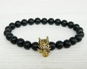 Wolf bracelet for mens gift for him Black bracelet Wolf's bracelet Black onyx men's bracelet wolf head stretch bracelet for boyfriend