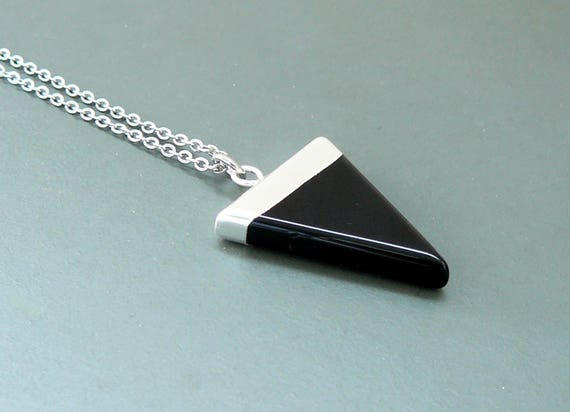 Black Onyx necklace black onyx triangle pendant Silver Charm choker Gemstone Jewelry Black Agate crystal point necklace for men necklace