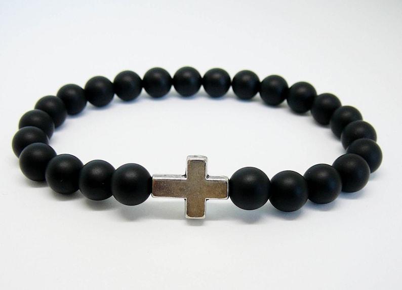 b0b592bca89e Pulsera Cruz de los hombres para la pulsera hombre negro Cruz