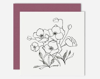 Poppies / Floral Greeting Card / Illustration