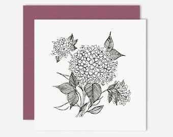 Hydreangea / Floral Greeting Card / Illustration
