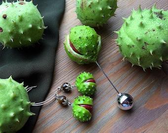 Conker Buckeye Chestnut brooch Pin Closure & Earrings Fall nature jewelry Autumn clothes accessory Botanical vegan jewellry Coat Jacket pin