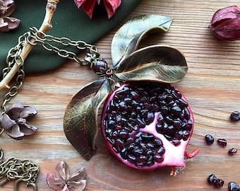 Garnet pomegranate necklace with leaves Red garnet jewelry Art Food Fruit pendant Gardenian Botanical Statement jewelry January birthstone