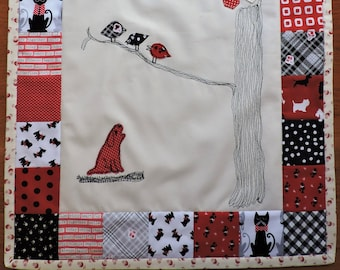 Quilt wall hanging, Dog and birds wall decor, quilted wall art