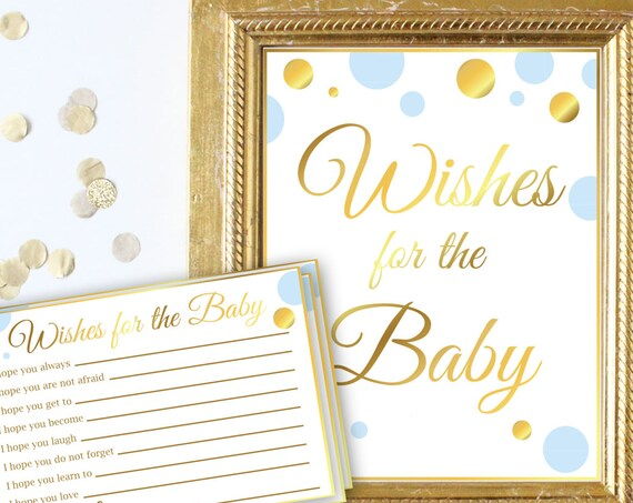 Wishes for the Baby Sign and Cards ~ Blue and Gold ~ Baby Boy Polka Dot ~ Printable Game BGld20
