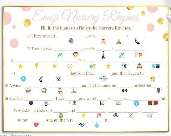 Emoji Nursery Rhymes Game ~ Pink and Gold Baby Shower ~ Baby Girl Polka Dot ~ Printable Game PGld20