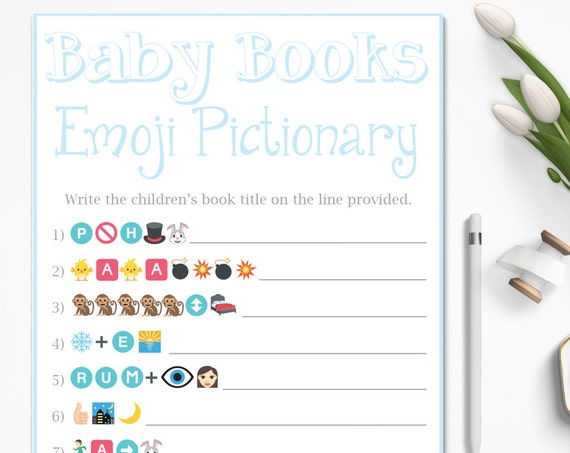 Baby Books Emoji ~ Children's Books Emoji Game ~ Blue  Baby Shower Game ~ Baby Boy ~ Printable Game 0026B