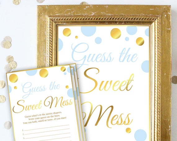 Guess the Sweet Mess Baby Shower Game ~ Blue and Gold ~ Baby Boy Polka Dot ~ Printable Game BGld20