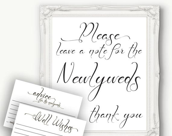 Wedding Advice Sign, Newlywed Advice Sign, Please Leave a Note,  Wedding Well Wishes, Reception Template, Instant Download PDF, 110B