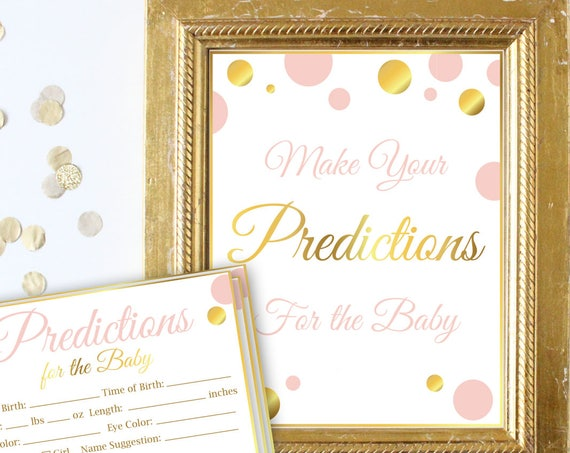 Predictions for the Baby Sign and Cards ~ Pink and Gold ~ Baby Girl Polka Dot ~ Printable Game PGld20