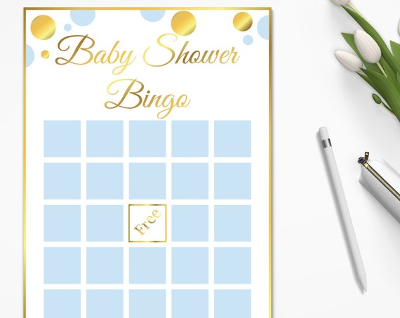 Bingo Game ~ Blue and Gold Baby Shower Game ~ Baby Shower Baby Boy Polka Dot ~ Printable Game BGld20
