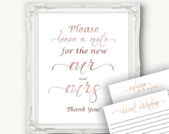 Rose Gold Wedding Advice Sign, Advice Card, Please Leave a Note,  Wedding Well Wishes , Wedding Template, Instant Download PDF, 110RG