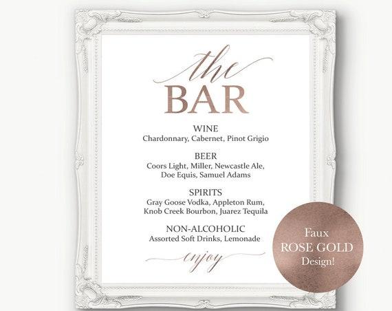 Rose Gold Wedding Bar Menu Sign ~ Drinks Sign ~ Reception Sign ~ Menu Printable Sign ~ Editable Template ~ Instant Download PDF ~ 120RG