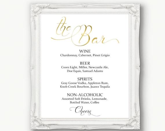 Gold Wedding Bar Menu Sign ~ Drinks Sign ~ Reception Sign ~ Menu Printable Sign ~ Editable Template ~ Instant Download PDF ~ 110G
