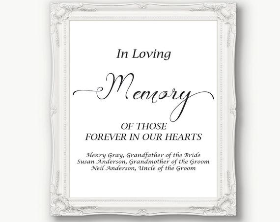 Wedding In Loving Memory Sign ~ Memorial Sign ~ Reception Sign ~  Printable Sign ~ Editable Template ~ Instant Download PDF ~ 110B