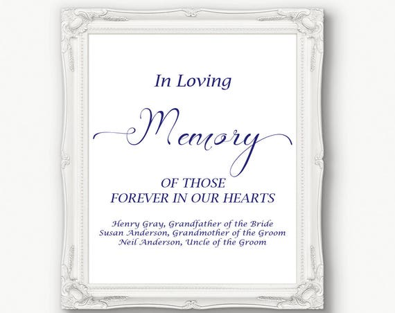 Wedding In Loving Memory Sign ~ Navy Memorial Sign ~ Reception Sign ~  Printable Sign ~ Editable Template ~ Instant Download ~ 110N