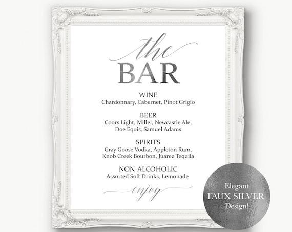 Silver Wedding Bar Menu ~ Drink Sign ~ Reception Sign ~ Menu Printable Sign ~ Editable Template ~ Instant Download PDF ~ 120S