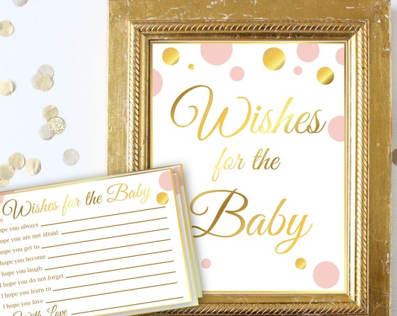 Wishes for the Baby ~ Pink and Gold ~ Baby Girl Polka Dot ~ Printable Game PGld20