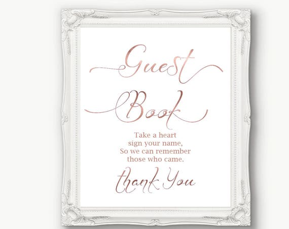 Rose Gold Guest Book Sign ~ Wedding ~ Reception ~ Please sign ~ Take a Heart ~ Printable ~ Instant Download ~ 110RG