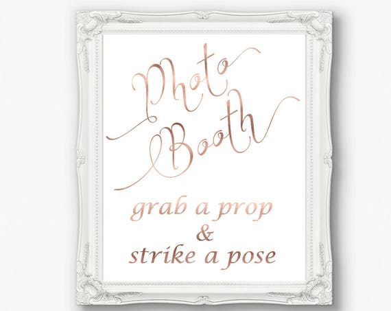 Rose Gold Photo Booth Sign, Grab a Prop & Strike a Pose Sign, Wedding Sign, Reception, Printable, Instant Download, 110RG