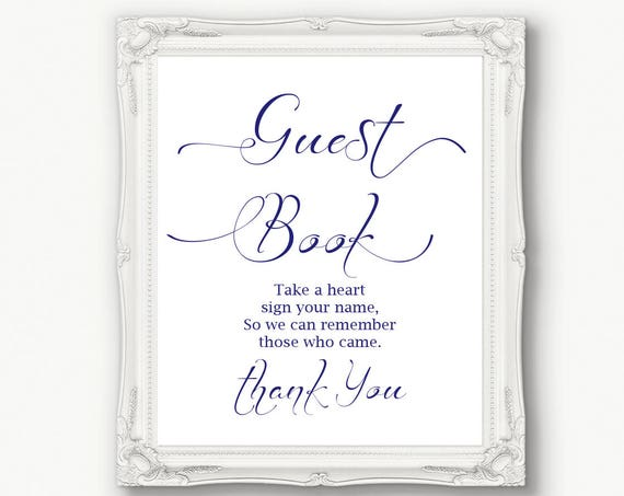 Navy Guest Book Sign ~ Wedding ~ Reception ~ Please sign ~ Take a Heart ~ Printable ~ Instant Download ~ 110N