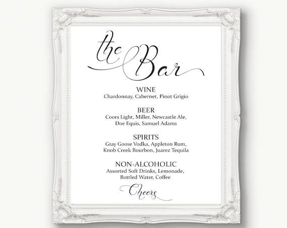 Wedding Bar Menu Sign ~ Drinks Sign ~ Reception Sign ~ Menu Printable Sign ~ Editable Template ~ Instant Download PDF ~ 110B