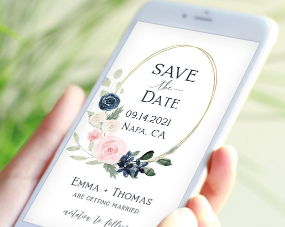 Save the Date, Electronic Phone Invitation, Evite, Digital, Text Invite, Text Message, Navy and Pink Floral, Editable Corjl Template PPW265