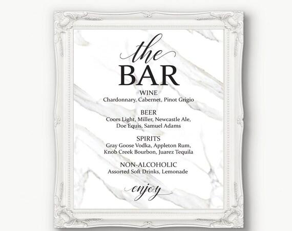 Marble Wedding Bar Menu ~ Drink Sign ~ Modern Sign ~ Menu Printable Sign ~ Editable Template ~ Instant Download PDF ~ 150B