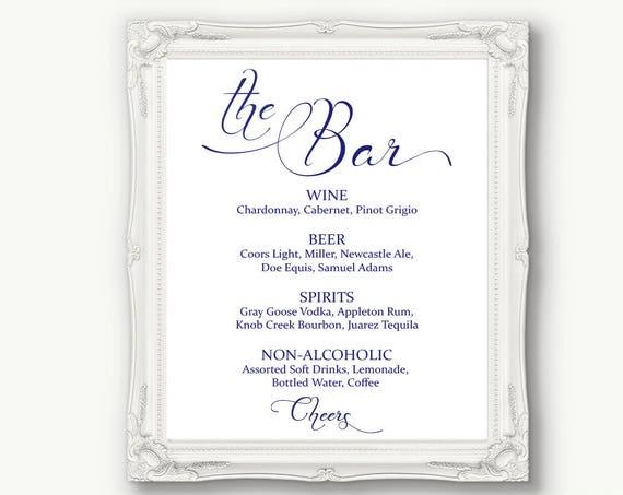 Navy Blue Wedding Bar Menu Sign ~ Drinks Sign ~ Reception Sign ~ Menu Printable Sign ~ Editable Template ~ Instant Download PDF ~ 110N