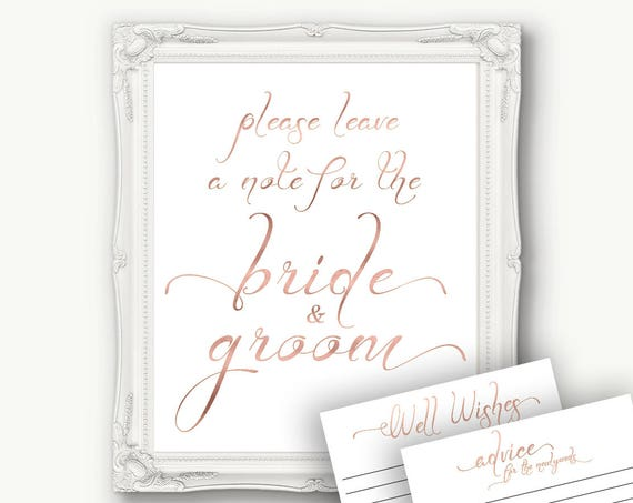 Rose Gold Wedding Bride and Groom Advice Sign, Advice Card, Please Leave a Note,  Wedding Well Wishes, Template, Instant Download PDF, 110RG