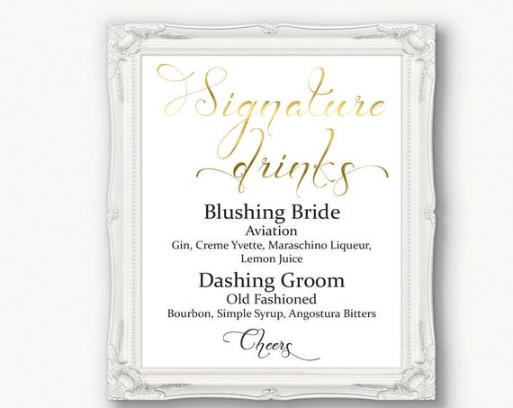 Gold Bride Groom Signature Drink Menu Sign ~ Drinks Sign ~ Menu Printable Sign ~ Editable Template ~ Instant Download PDF ~ 110G