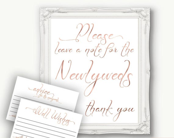 Rose Gold Wedding Newlywed Advice Sign, Advice Card, Please Leave a Note,  Wedding Well Wishes , Template, Instant Download PDF, 110RG