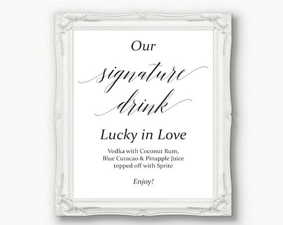 Signature Drink Sign ~ Menu Sign ~ Wedding Reception Sign ~ Printable Bar Sign ~ Editable Template ~ Instant Download PDF ~ 120B